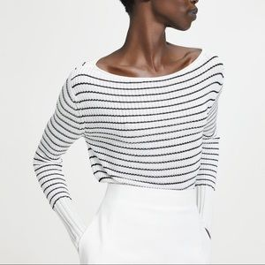 NWT Theory Boatneck Black and White Sweater